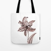 henna Tote Bags featuring Henna Lily by Elisa Camera