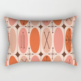 Atomic Era Ovals In Rows Orange Rectangular Pillow