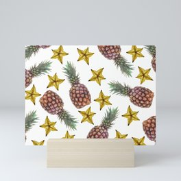 Starfruits - Pineapple pattern - white background Mini Art Print