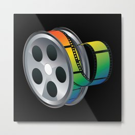 Film reel with colorful tape Metal Print