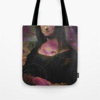 mona lisa Tote Bags featuring Mona Lisa by Alberto Lorenzo