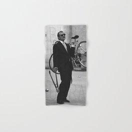 Bill F Murray stealing a bike. Rushmore production photo. Hand & Bath Towel