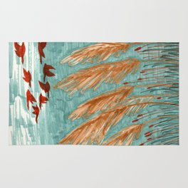 Geese Flying over Pampas Grass Rug