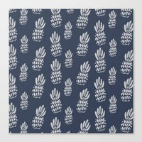 gray pattern Canvas Prints featuring Pineapple Pattern - Navy + Gray by Allyson Johnson