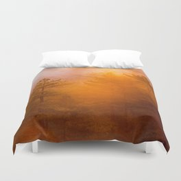 Golden Morning Glory Forest Duvet Cover