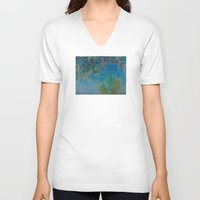 monet V-neck T-shirts featuring Claude Monet Wisteria by Elegant Chaos Gallery