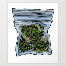 illustrated gram of cannabis Art Print