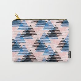 Abstract dynamic shapes in pink, blue white, black colors Carry-All Pouch