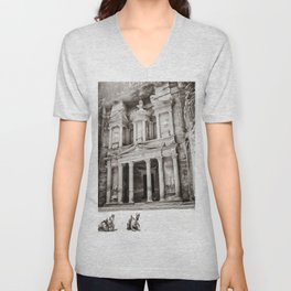 Camels at Petra | Black and White Stunning Stone Monument Hidden Lost City Treasury Carved Cliff Unisex V-Neck