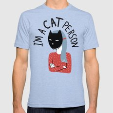 Cat Person Mens Fitted Tee Tri-Blue MEDIUM