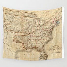 Vintage United States Eagle Map (1833) Wall Tapestry
