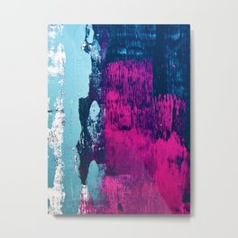 Early Bird: A vibrant minimal abstract piece in blues and pink by Alyssa Hamilton Art Metal Print