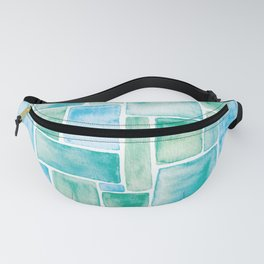 Watercolour Mosaic Pattern | Turquoise Fanny Pack