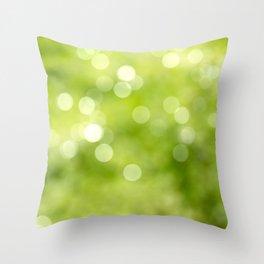green bokeh Throw Pillow