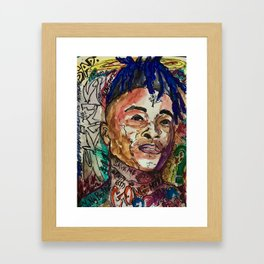 X,rapper,rip,hiphop,music icon,lyrics,colourful poster,dope,wall art,cool,shirt Framed Art Print