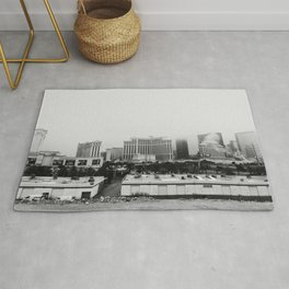 Back Side of the Bellagio // Las Vegas Strip City Landscape Cloudy Snow Day Foggy Raw Photograph Rug