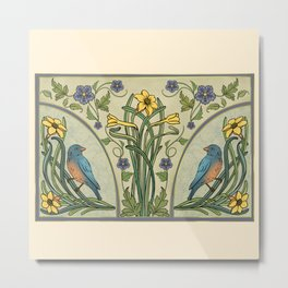 Bluebirds And Spring Blossoms Inspired By Art Nouveau Metal Print