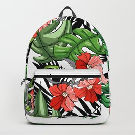 Tropical Flower Pattern - Green and Red Version Backpack