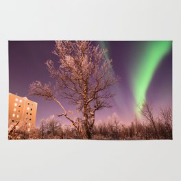 Green northern lights with tree in the middle over the Kiruna town in Sweden. Rug