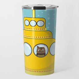 Yellow submarine with a cat and bubbles Travel Mug