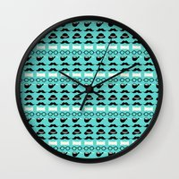 moustache Wall Clocks featuring moustache by lilumon