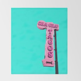 Cha-Cha's Tacos Retro Vintage Pink Sign Throw Blanket