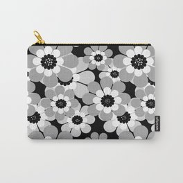 The floral pattern . black, grey , white . Carry-All Pouch