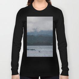 Lone Surfer - Hanalei Bay - Kauai, Hawaii Long Sleeve T-shirt