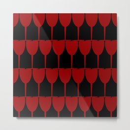 Vino - Red on Black Metal Print
