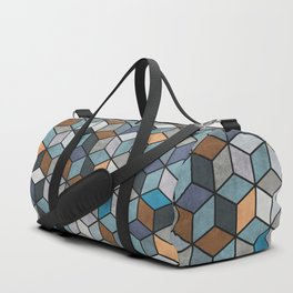 Colorful Concrete Cubes - Blue, Grey, Brown Duffle Bag