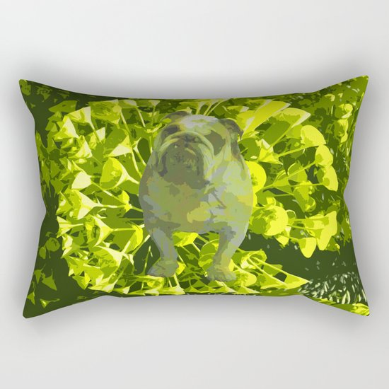 Green Pug Rectangular Pillow