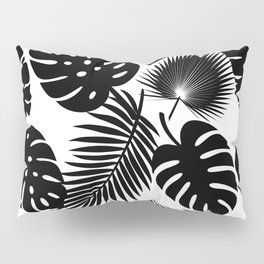 Tropical Leaves - Black on White Pillow Sham