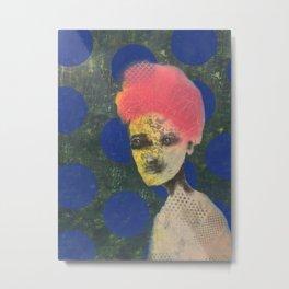 Blue dotted Brokade Metal Print