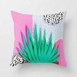 Dag - throwback memphis 1980s neon art pink pastel pattern black and white minimal art design urban Throw Pillow