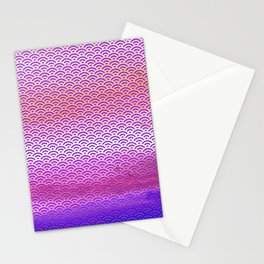 Magic Sunset/Purple Watercolor Seigaiha Pattern Stationery Cards
