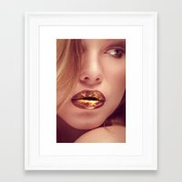 lip Framed Art Prints featuring lip art by Photoplace