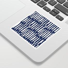 Vertical Dash White on Navy Blue Paint Stripes Sticker