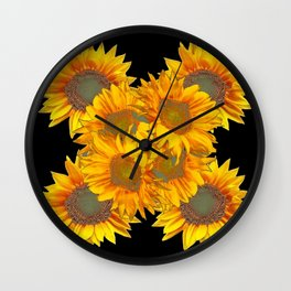 Golden Yellow Sunflowers on Black Color Wall Clock