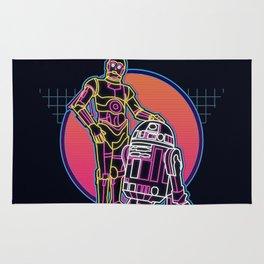 Starwars 80s neon robot logo Rug