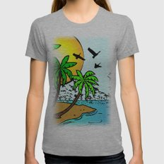 island Womens Fitted Tee Athletic Grey SMALL