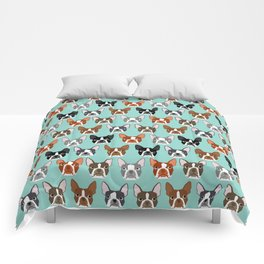 Boston Terrier heads cute pet portraits terrier owner must have gifts hipster dog breeds cute puppy Comforters