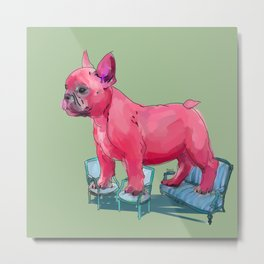 animals in chairs # 23 French Bull Dog Metal Print