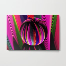 Variation of colours in the glass ball. Metal Print