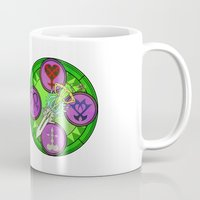 kingdom hearts Mugs featuring Kingdom Hearts stained glass illustration  by Paul Giovinco