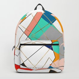 Modern Colorful Abstract Gold Geometric Strokes Backpack