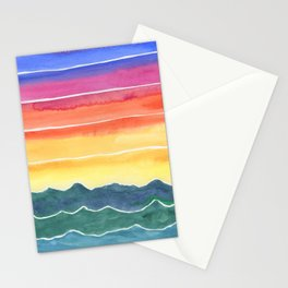 Mountains of Waves Watercolor Painting Stationery Cards