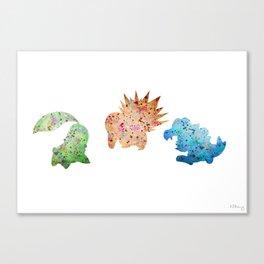 Johto Starter Monsters Set Canvas Print