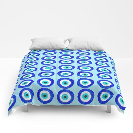 Evil Eye Talisman - on turquoise Comforters