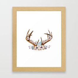 The Stag Fall Florals Framed Art Print