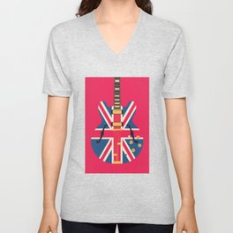 Union Jack Flag Britpop Guitar - Crimson Unisex V-Neck